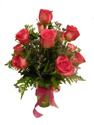 Dozen Pink Roses from Ladybug's Flowers & Gifts, local florist in Tulsa