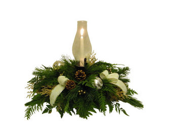Elegant Christmas Centerpiece from Ladybug's Flowers & Gifts, local florist in Tulsa