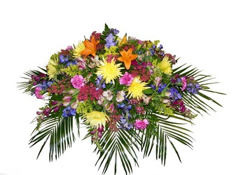 Colorful Cascade Casket Spray from Ladybug's Flowers & Gifts, local florist in Tulsa