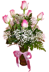 Half Dozen Pink Roses from Ladybug's Flowers & Gifts, local florist in Tulsa