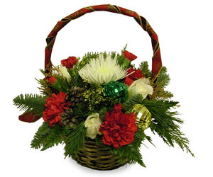 Holiday Basket from Ladybug's Flowers & Gifts, local florist in Tulsa