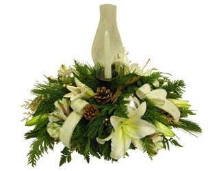 White Christmas Centerpiece from Ladybug's Flowers & Gifts, local florist in Tulsa