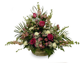Pink Reverence Basket from Ladybug's Flowers & Gifts, local florist in Tulsa