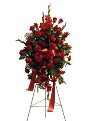 Regal Reds Standing Spray from Ladybug's Flowers & Gifts, local florist in Tulsa