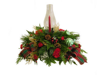 Cozy Christmas Centerpiece from Ladybug's Flowers & Gifts, local florist in Tulsa