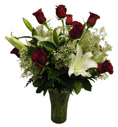 Lilies and Roses from Ladybug's Flowers & Gifts, local florist in Tulsa